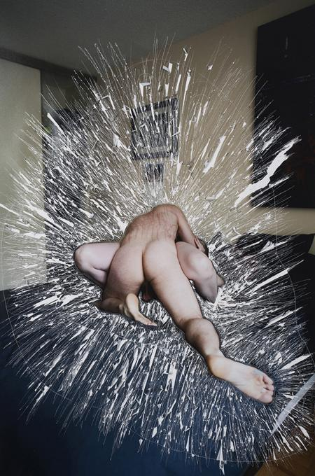 "Sarah Anne Johnson's ""Scratches"" (2013) incised and ripped chromogenic print 29 x 20 inches"